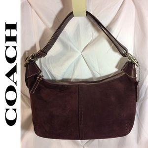 Coach Suede Purple Burgundy Hobo Bag